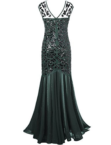 Robe Femmes De Plancher Bal de 1920s Longueur Soire Paillette Vert Gatsby PrettyGuide Noir zqdawqv