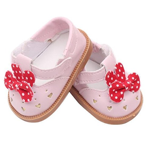 EatingBiting(R)3 Colors Dolls Shoe Dots Bowknot Buckles Shoe Boot for 18 '' American Girl Doll Costume , Cute Holidays Birthday Gifts For Kids Children ~ (Dot Buckle)
