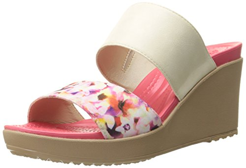 crocs Womens Leigh II 2 Strap Graphic Wedge Sandal Stucco/Gold
