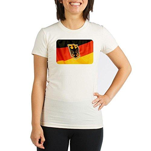 Royal Lion Organic Womens Fitted T-Shirt German Flag Waving - XL