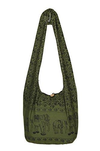 Shoulder Gypsy Thai Purse Hippie Beach Bag Cotton Bag Elephant Olive Sling Travel 100 Boho AgBxYPgq
