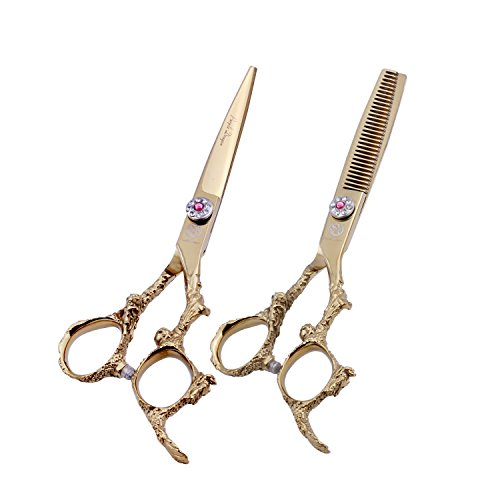 ch Professional Dragon Handle 440C Salon Hair Cutting Scissor - Hairdressing Thinning Shears- Perfect for Barber and Home Use (Gold) ()