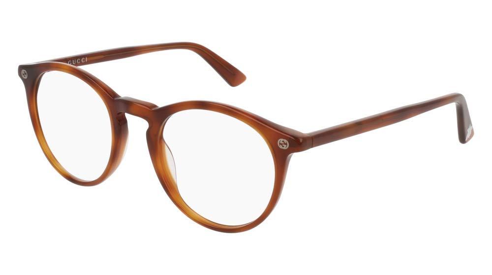 Gucci GG 0121O 003 Light Havana Plastic Round Eyeglasses 49mm