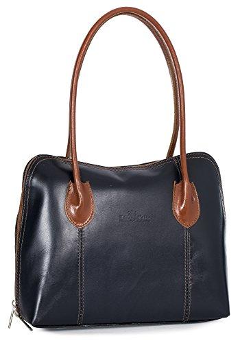 Womens Satchel Navy Leather Ladies CHELSEA Genuine Handbag Trim Medium LIATALIA Handle Shoulder Tan Top Italian dTqW8