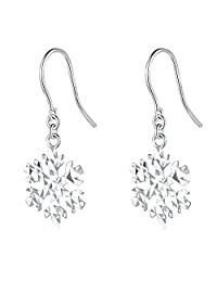 14K White Gold Diamond Cut Frozen Snowflake Dangle Fishhook Earrings