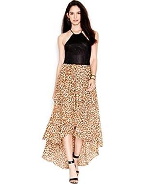 Guess Womens Pointelle Hi-Low Maxi Dress Tan M