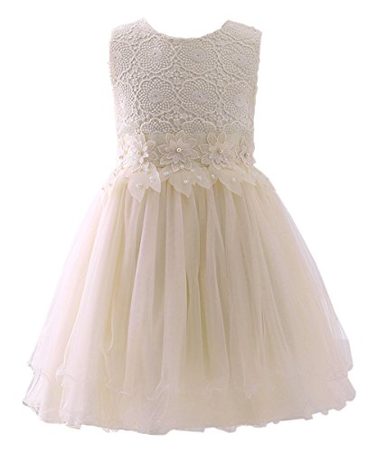 AbaoSisters Flower Girl Dress Lace Crochet Bow Sash Party Wear 6-13 Year Old (2-3 Years, Ivory) ()
