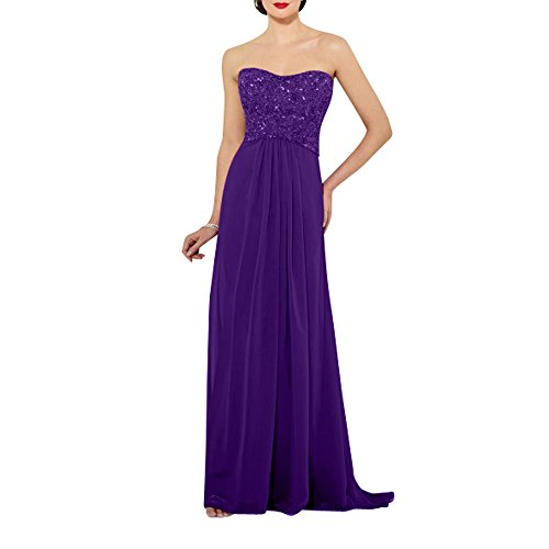 Chiffon Partykleider Brau mia Ballkleider Perlen La Elegant Abendkleider Kleider Traegerlos Festlichkleider Lila mit Langes Standsamt xwtv4