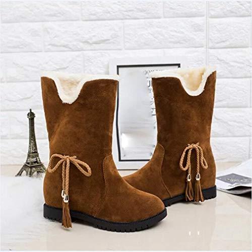 D'hiver D'hiver Et Familizo Bottines Neige chaussures Velours Pour Bottes Femmes Mode Jaune Rehaussant Femme De 7xwXqwUIp
