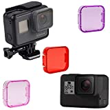 Kate&Yur 3 Pack Dive Filter for Hero 5, Hero 6, Hero 2018 (Without case to a Depth of 30 ft) - Red Filter, Pink and Magenta - Enhancing Colors for Various Underwater Video and Photography Conditions