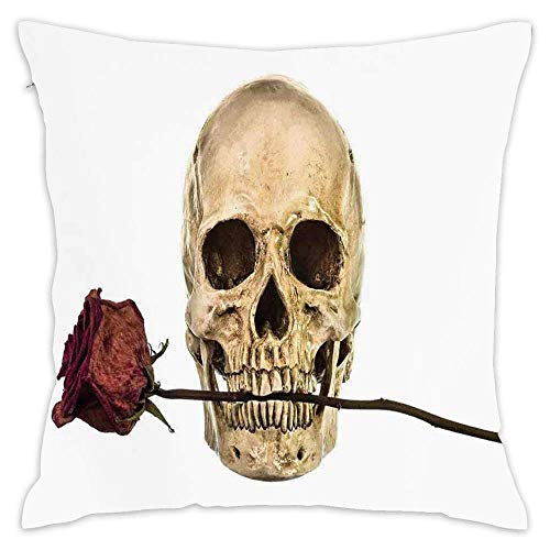 Wbsdfken Gothic Decor,Skull with Dry Red Rose in Teeth Anatomy Death Eye Socket Jawbone Halloween Art, Self-Adhesive Vinyl Wallpaper/Removable Modern Decorating Wall A Pillow Covers 18 x 18 Inch]()