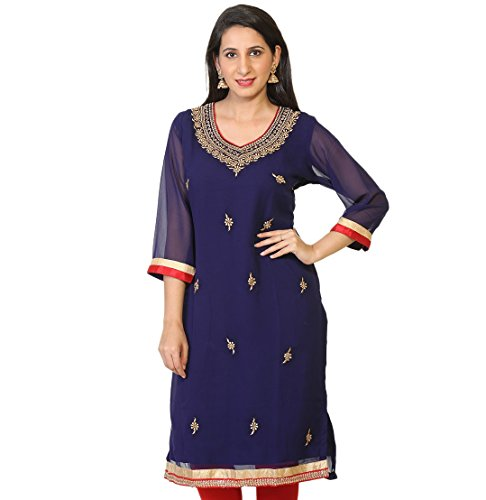 Ria Fashions Indian Kurta Kurti Womens Embroidered Blouse Tunic Top (2XL(46), Navy 1)