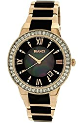 Roberto Bianci Women's Rose Gold Plated Black Ceramic Watch with Stones-5872L