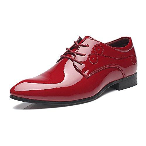 Xiaojuan-shoes, Scarpe da uomo in pelle liscia da uomo Lace Up Hollow Carving Classic Oxford,Scarpe Uomo Pelle (Color : Nero, Dimensione : 40 EU) Rosso