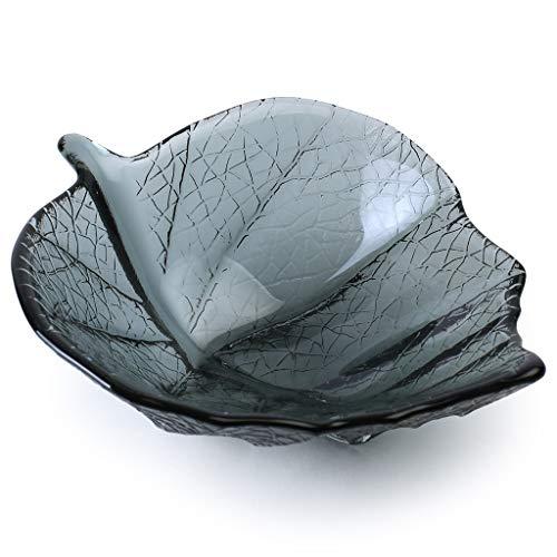 Glass Leaf Bowl Smoky Grey - Bowl Glass Leaf