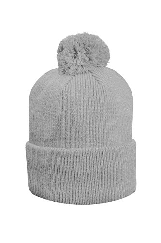 Glenmuir Unisex Merino Thermal Lined Rib Bobble Hat-Light Grey-One - Hat Malabar