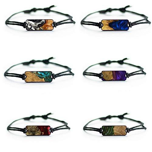 Carved Burl Wood + Resin Bracelet (6-Pack - Black & White, Dark Blue, Teal & Gold, Purple, Dark Red, Dark Green)