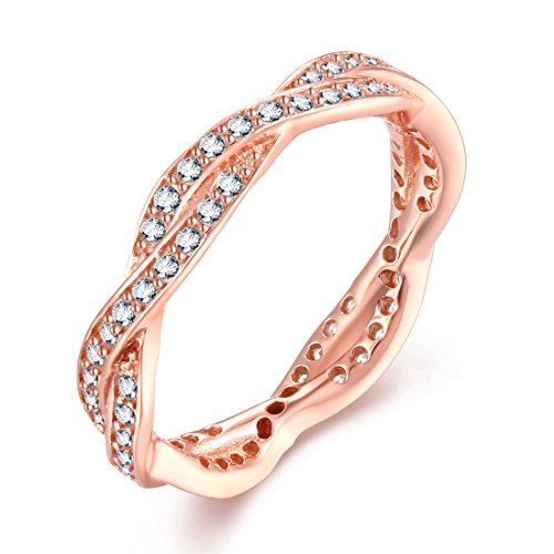 Presentski Wheel of Fortune Ring Silver Rose Gold-Plated, Twist Eternity Love Band Rings with Cubic Zirconia for Women
