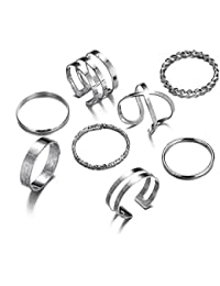8 PCS Midi Ring Set Simple Knuckle Vintage Silver Finger Stackable Rings Set for Women/Girl Gifts