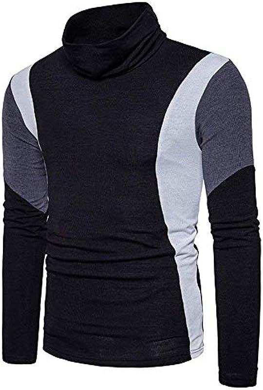 Męskie wysokie zapięcie na szyi długi rękaw patchwork fit ciepły modny slim sweter bluza wiosna jesień elegancki długi rękaw wysoki kołnierz gÓrne części topy: Odzie