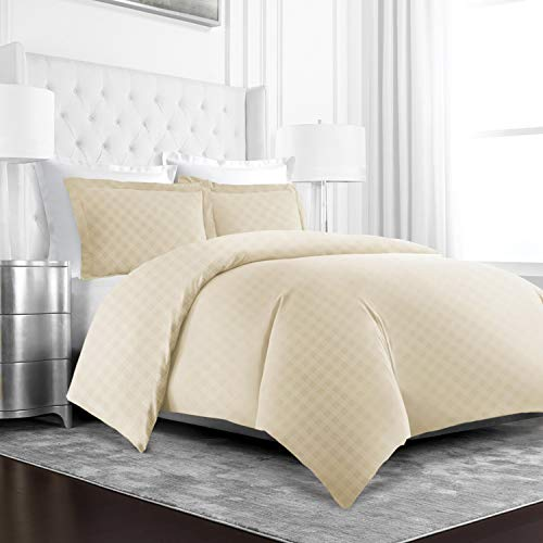 Beckham Hotel Collection Luxury Soft Brushed Microfiber Duvet Cover Set with Embossed Diamond Pattern - Hypoallergenic & Stain Resistant Zippered Duvet Cover -Full/Queen - Cream