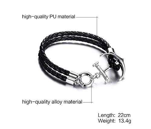 Vnox Tressé en cuir véritable à deux couches Anchor Charm Bracelet Bracelet Crochet Fermoir pour homme