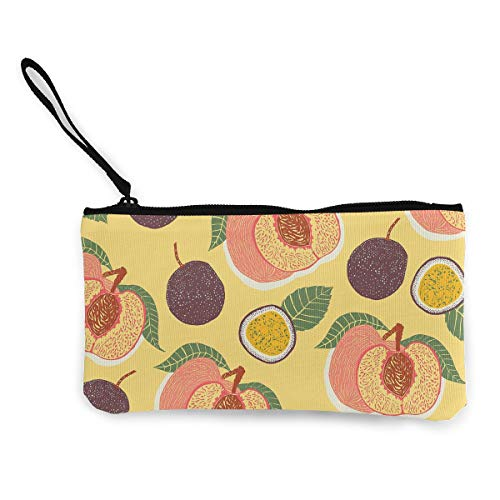 Oomato Canvas Coin Purse Fruits Leaves Peach Cosmetic Makeup Storage Wallet Clutch Purse Pencil Bag -