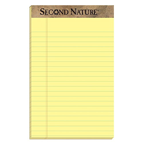 100% Recycled Writing Pads (TOPS 74840 Second Nature Recycled Pads, Jr. Legal, 5 x 8, Canary, 50 Sheets (Pack of 12))