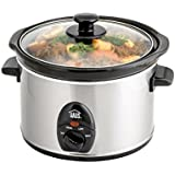 Haus HSC 44235 SS Programmable Slow Cooker Tempered See-Through Glass Lid, 2.5 Quart, Stainless Steel