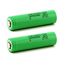 2pcs Samsung INR18650-25R 2500mAh 3.6v Rechargeable Flat Top Batteries (Green Wrapped) with Free Battery Box + Magnet Pole