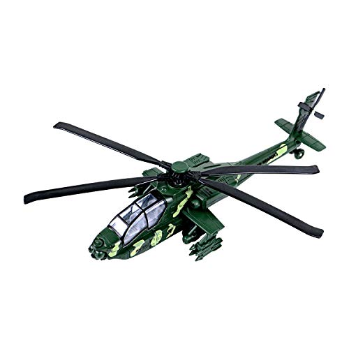HAPTIME 11.2 inch Pull Back Military Helicopter Toy with Lights and Sounds Army Plane Airplane for Kids Children Boys Girls (Green)