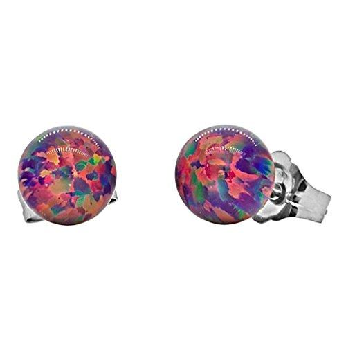 Trustmark 14k White Gold 6mm Created Royal Lavender Opal Ball Stud Post Earrings, (Halloween Earrings Australia)