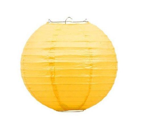 Liroyal 10 Yellow Round Paper Lantern - (10 Pack)