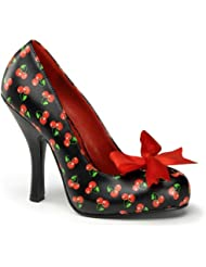 Womens Patterned Pumps Cherries or Polka Dots Red Bow 4 1/2 Inch Heel Fun Shoes