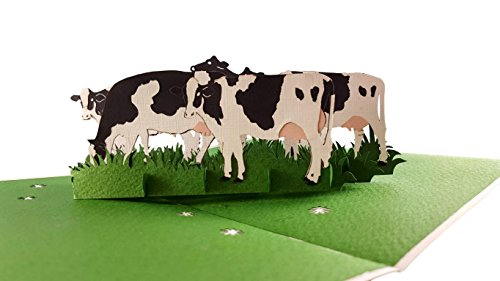 iGifts And Cards Dairy Cows 3D Pop Up Greeting Card - Cattle, Farm, Barn, Grass, Wow, Half-Fold, Happy Birthday, Friendship, Thank You, Father