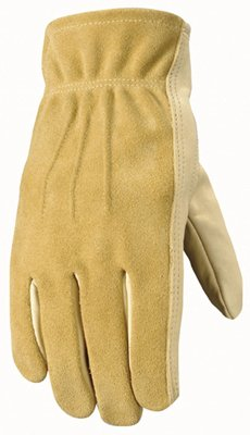 Wells Lamont Work Gloves, Grain/Split Palomino Cowhide, Keystone Thumb, Palm Patch, Leather Bound