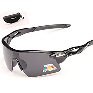 Open Road UV400 Wraparound Protection Lightweight and durable Sports Sunglasses with Hard Protective Case, Black Polarized