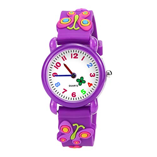 Price comparison product image Akaru Kids Waterproof Watch 3D Cute Cartoon Sport Silicone Children Toddler Wrist Quartz Watch Butterfly Purple Watch for Kids Gift Girl Boy