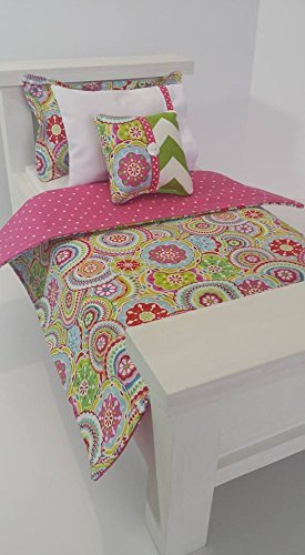 18 Doll Bedding, Colorful Flowers Doll Bedding Made to Fit American Girl Dolls 18 Doll Bedding