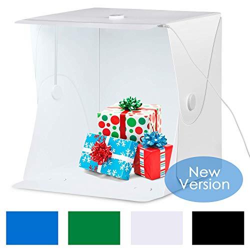 - Amzdeal Portable Photo Studio 16x16 Inch LED Light Box Table Top Photography Shooting Kit with 6000-6500K Adjustable LED Strip+Metal Frame+4 Backdrops(Black/White/Blue/Green)