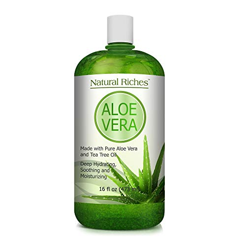 Aloe Vera Gel with Tea Tree Oil for Face & Dry Skin Helps Cold Sores, Scars, Bug Bites, Sunburn, Razor Rash, Bumps Excellent DIY Body Lotion Skincare Moisturizer 16 oz. Natural Riches