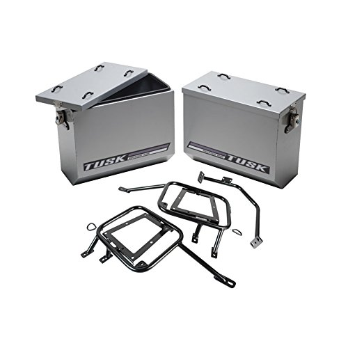 (Tusk Aluminum Panniers with Pannier Racks Size Large Silver Fits 2008- 2015 KLR 650 Kawasaki Tusk part #1467340010)