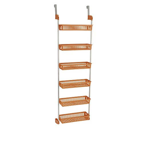 Household Essentials 6-Tier Basket Over-The-Door Organizer, Orange