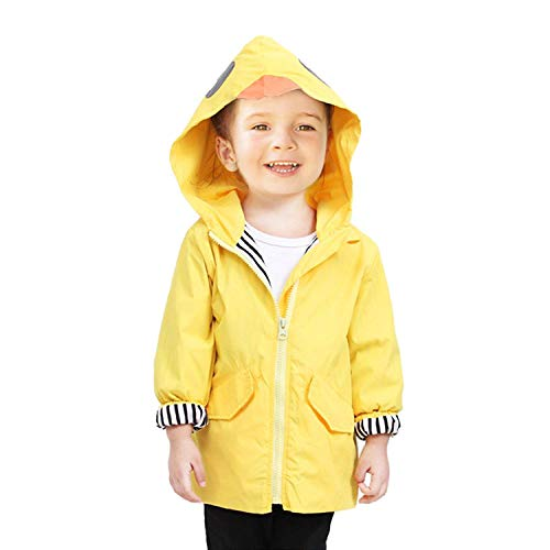 SWISSWELL Rain Suit for Kids Waterproof Hooded Rainwear Jacket Yellow (4T, Yellow)