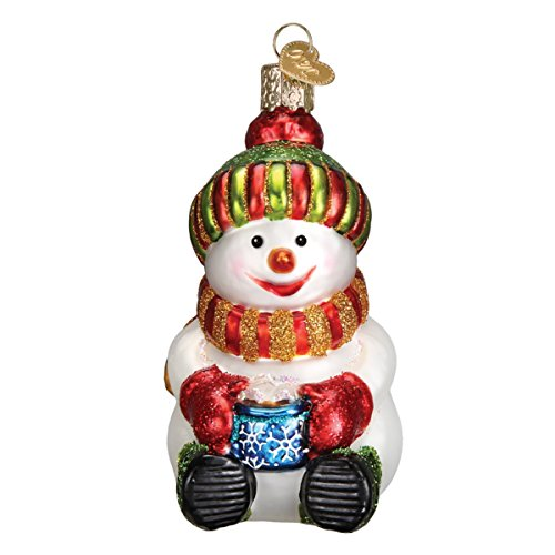 Old World Christmas Ornaments: Snowman with Cocoa Glass Blown Ornaments for Christmas Tree ()