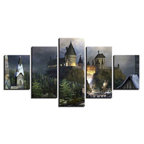 Ai Ya-hua Leinwand Wand Kunst Home Decoration Frame Hd Malerei Poster 5 Panel Harry Potter Schloss Für Wohnzimmer Bilder Moderne Gedruckt