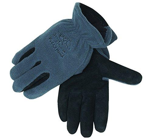 Black Stallion 15FH-GRAY FuzzyHand Polar Fleece and Split Cowhide Winter Gloves - X-Large (Fuzzy Hands Gloves)