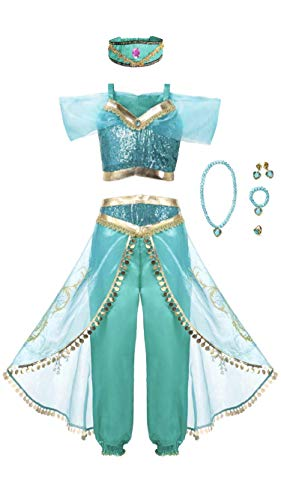 Arabian Princess Girls Costume Outfit, Headband and Jewelry Set, -