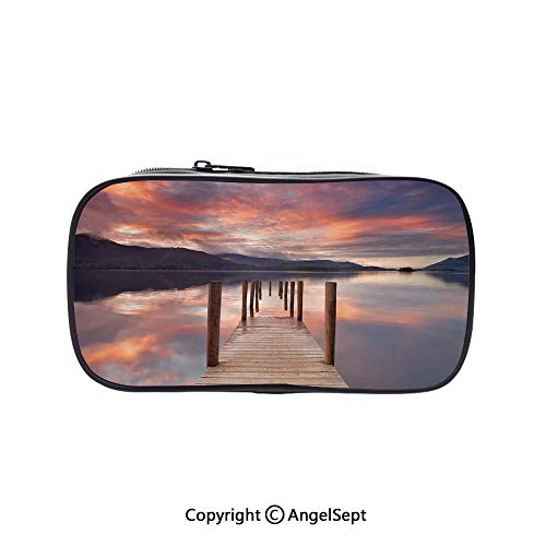 Big Capacity Pencil Case 1L Storage,A Flooded Jetty in Derwent Water Lake District England Sunset Morning Photo Coral Purplegrey 5.1inches,Desk Pen Pencil Marker Stationery Organizer with Zipper for -