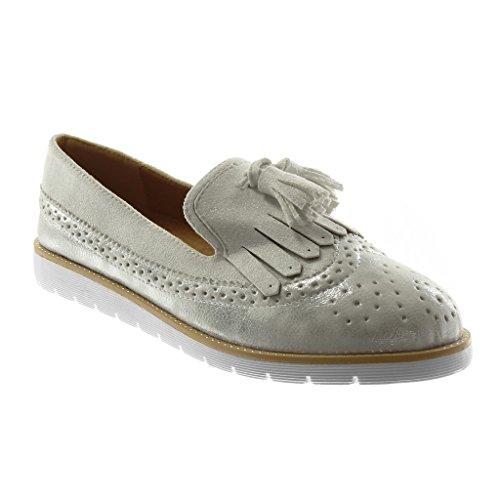Slip Mokassin Sneaker Sohle Silber cm Damen 2 Perforiert Angkorly Glänzende Ferse 5 Flache Fransen On Schuhe qtFXE